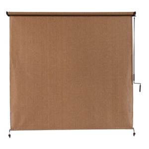Outdoor Roller Shade 120 in. W x 96 in. L Fade-Resistant Fabric Walnut