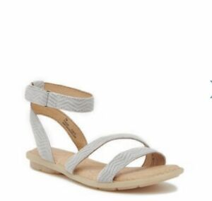 Women Born August Ankle Strap Buckle Up Flat Sandal Suede Leather Light Gray