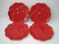 "West Elm Set Of 4 Red Flower Shape Fruit Desert Plates 5.5"" New With Box"