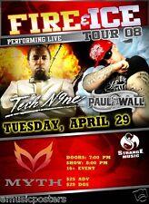 """TECH N9NE/ PAUL WALL 2008 """"FIRE & ICE TOUR"""" CONCERT POSTER -Hip Hop Rap Legends!"""