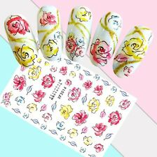 Nail Art Stickers Transfers 3D Self Adhesive Watercolour Flowers (Xf3014)