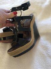 Authentic Christian Louboutin Black  Cage Wedges Sandals Heels EU38 US7.5 UK5