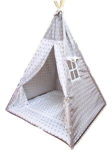 Large High 160 cm Cotton Canvas Kids Teepee Tent Wigwam Indoor/Outdoor UK Stock