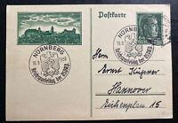 1938 Nuremberg Germany Postal Stationery Postcard Cover To Hannover Rally
