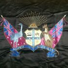 """silk """"Broderers"""" tapestry Coat of Arms 19th c. """"Advnce Australia"""" heraldry"""