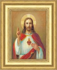 SACRED HEART OF JESUS PICTURE - GOLD MOULDED FRAME - OTHER FRAMES ARE LISTED
