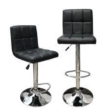 Angel Hexagrid Swivel PU Leather Height Adjustable Hydraulic Bar Stool Set of 2