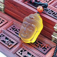 Natural Yellow Crystal Buddha Amulet Pendant Lucky Chinese Chain Necklace Hot