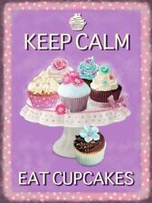 Keep Calm, Eat Cupcakes. Cake Stand Retro Kitchen Large Metal/Steel Wall Sign