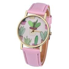 PRETTY CACTI WATCH - PINK FAUX LEATHER STRAP - GUARANTEED - FREE P&P.....CG0444