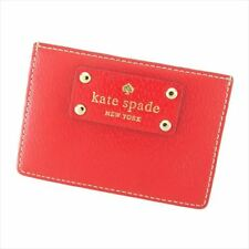 Kate Spade Card Case Red Beige leather Woman D1894