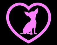 Chihuahua Heart Vinyl Decal Sticker Window Glass Love Car Truck