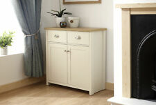 Cream Oak Sideboard 2 Door 2 Drawer Storage Cupboard Metal D Cup Handles