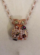 Betsey Johnson Betseys Woven Owl Small Pendant Rose-Gold Necklace NWT $45 BB19