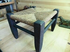 Vintage footstool stool ottoman mahogany bench solid strong