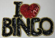 """I LOVE (HEART) BINGO BEADED SEQUIN PATCH Applique 6 x 4.25"""" NEW"""