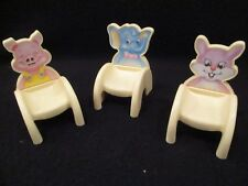 loving family dollhouse animal backed chairs pig, rabbit, elephant rare *