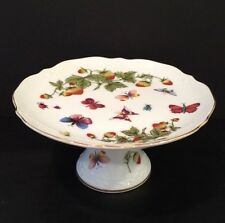 """VTG 7"""" Porcelain Footed Cake Plate w/ Butterflies & Strawberries Gold Trim EUC"""