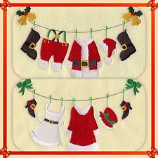 SANTA CLOTHESLINE TOO CUTE SET OF 2 BATH HAND TOWELS EMBROIDERED BY LAURA