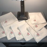 Set Of 8 Vintage Napkins Cream Linen with Cross Stitch Pink Embroidered Flower