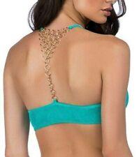 Trina Turk Velveteen Underground Turquoise Halter Bikini Top - Size 6  NWT  $92
