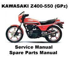 Z400 Z500 GPZ550 Owners Workshop Service Repair Parts Manual PDF CD-R KZ Z GPZ