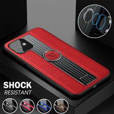 For iPhone 12 11 Pro Max Mini 8 7 6 XR X/XS Case Leather Shockproof Ring Cover