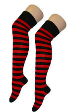 Ladies Over The Knee Fancy Dress Party Stripey Striped Socks Variety Colours Sox Red and Black