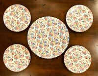 Lovely Vntg Floral Print Chintz Cake Plate and Four Dessert Plates MADE IN JAPAN