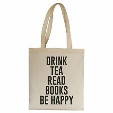 Drink tea read books be happy funny tote bag canvas shopping