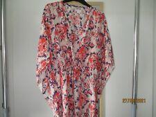 Tucker patterned V neck pure silk tunic, size P