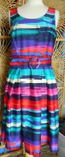 Attractive Bold Coloured M&Co Size 12 Belted Dress with Pleated Skirt  VGC