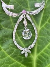 18K White Gold Rose Cut Diamond Sapphire Garland Lariat Necklace 2 TCW 18 Inches