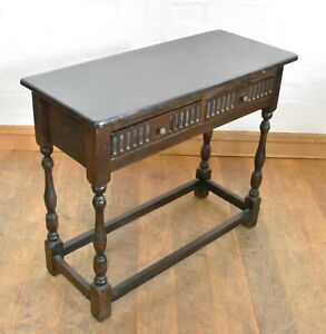 Antique style carved country oak console side hall table with drawer
