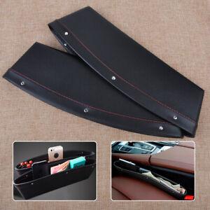 2xBlack PU Leather Car Seat Catcher Bag Gap Organizer Slit Pocket Storage Box Em