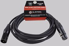 3 Pin DMX Pro Stage Lighting Cable 22 ga 10 Ft. Foot 3 Meter 100% OFC