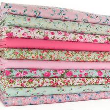 Fat Quarter Bundle - Pink & Mint Vintage Florals - Polycotton Fabric Remnants