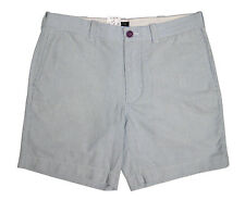 J.Crew Flat Front Shorts Men Size 35 Blue Stripe Zip Button Oxford Reade J Crew