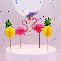 20Pcs 3D Flamingo Pineapple Cake Topper Birthday Wedding Party Decoration