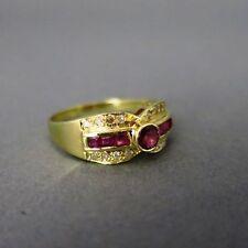 Echte Edelstein-Ringe im Band-Stil aus Gelbgold mit Rubin für Damen