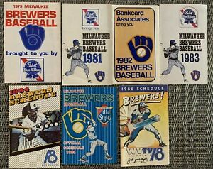 Lot (7) Vintage Milwaukee Brewers 1979 - 1986 Official Pocket Game Schedule