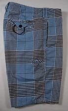 Ezekiel Men Boardshorts Brown Blue Plaid Swim Trunks Size 30