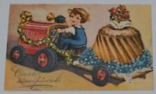 TRACTOR WITH TRAILER BLACBERRY CAKE ROSES ESTONIA 1930s BIRTHDAY POSTCARD
