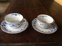 2 Sets Kobalt Blau  (Cobalt Blue)Antique Teacups & Saucers Blue & White Gold Rim