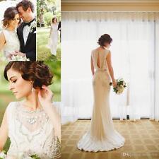 2017 Spring Bohemian Vintage White Beaded Wedding Dress Bridal Custom Size 2-18+
