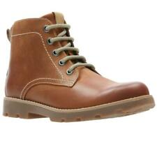 CLARKS Comet Rock Tan Leather Boys Junior Boots UK Size 1 - 2 1/2 G, F