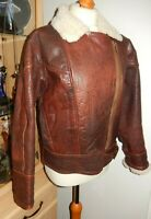 VINTAGE RED BROWN 100% LEATHER FLYING JACKET SIZE 10/12 MADE IN ENGLAND