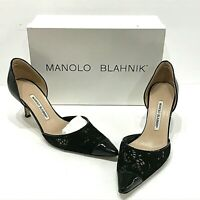 MANOLO BLAHNIK Black Laser Cut Leather Patent Cap Toe Dorsay Pumps Heels 10 40