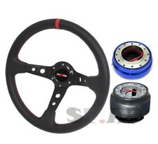 94-04 Mustang Deep Dish 350Mm Steering Wheel Black/Red+Hub+Quick Release Blue