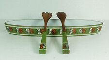 ceramano hot pot lange flache SCHALE und passendes SALATBESTECK teak keramik